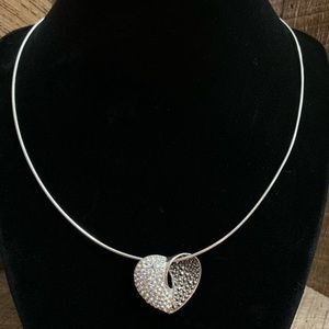 925 Sterling Silver Marcasite Slide Heart Necklace